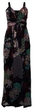 Laundry by Shelli Segal Floral Burnout Velvet Wrap Gown