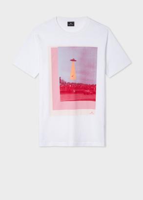 Paul Smith Men's White 'UFO' Photographic Print Organic-Cotton T-Shirt
