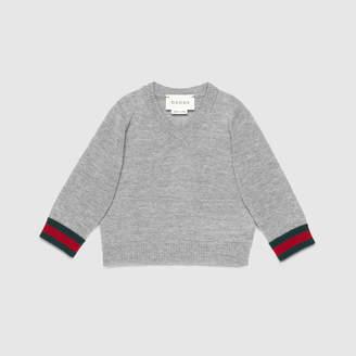 Gucci Baby merino Web V-neck sweater