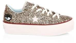 Converse Chiara Ferragni One Star Glitter Leather Platform Sneakers