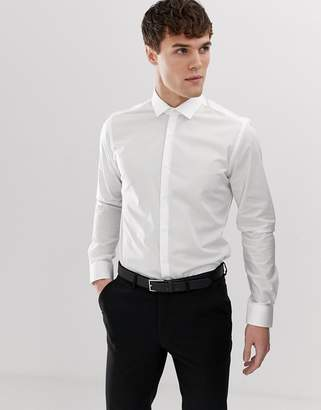 Moss Bros Extra Slim Smart Shirt In White With Stretch