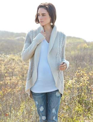 A Pea in the Pod Luxe Essentials Denim Patchwork Maternity Cardigan