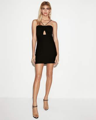 Express Front Cut-Out Ribbed Sheath Dress
