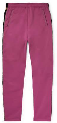 KAPITAL Slim-Fit Embroidered Velvet-Trimmed Tech-Jersey Sweatpants