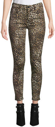 7 For All Mankind Jen7 By Leopard-Print Skinny Ankle Jeans