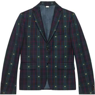 Gucci Check bees fabric jacket