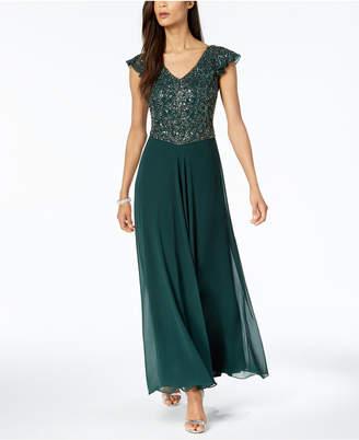J Kara V-Neck Beaded Gown