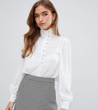 Fashion Union Petite petite button collar blouse