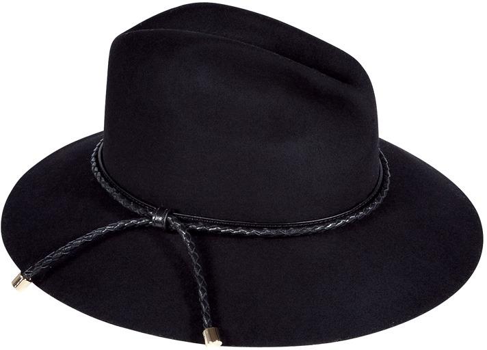 Burberry London Black Beat Plaited Ingrid Trilby Hat