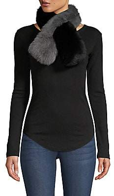 CHARLOTTE SIMONE Women's Polly Pop Fox Fur Bi-Color Pull-Through Scarf