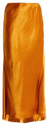 Sies Marjan - Xael Bias Cut Satin Midi Skirt - Womens - Dark Orange