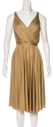 Carmen Marc Valvo Pleated Midi Dress