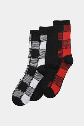 Ardene Plaid Crew Socks