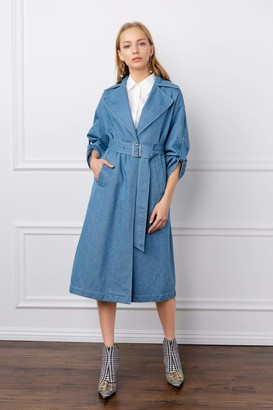 J.ING Nadine Blue Jean Trench Coat
