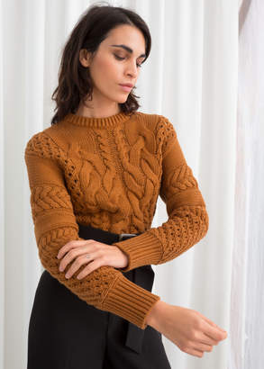 46022b5f113 Cropped Cable Knit Sweater - ShopStyle