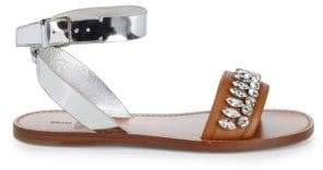 Miu Miu Crystal Flat Leather Sandal