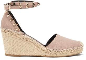 Valentino Rockstud Leather Espadrille Wedges - Womens - Nude