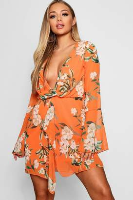 boohoo Chiffon Wrap Floral Print Shift Dress