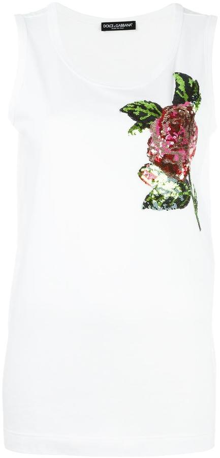 Dolce & GabbanaDolce & Gabbana rose sequinned tank top