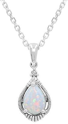 Created Opal and White Sapphire Pendant-Necklace in Sterling Silver