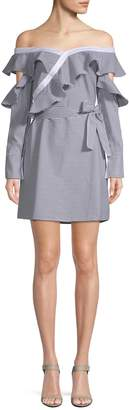 Laundry by Shelli Segal Women's Off-the-Shoulder Striped Shirtdress Dress