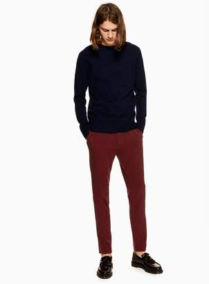 Topman Burgundy Skinny Smart Trousers