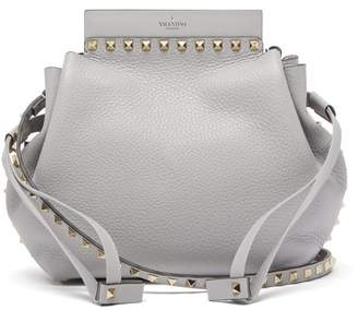 Valentino Rockstud Grained Leather Bucket Bag - Womens - Light Grey