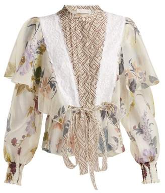 See by Chloe Lace Trimmed Ruffle Panel Floral Blouse - Womens - White Multi