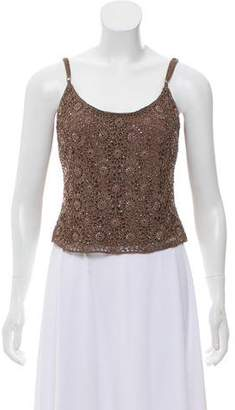 Carmen Marc Valvo Embellished Crochet Top