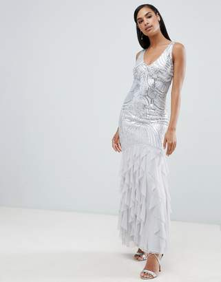Lipsy sequin maxi dress with tulle skirt