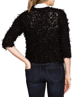 Nic+Zoe Plush Party 3/4-Sleeve Fuzzy Cardigan