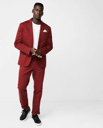 Express Slim Fit Burnt Sienna Washed Suit Pant