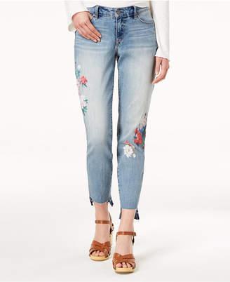 Vintage America Printed Step-Hem Skinny Jeans