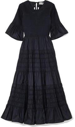 Molly Goddard - Shaan Shirred Taffeta Midi Dress - Navy