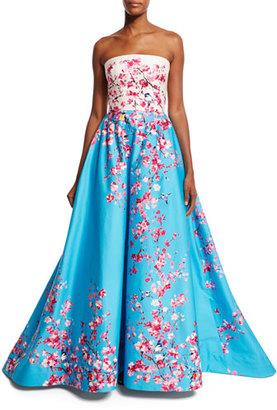 Monique Lhuillier Strapless Magnolia Branch & Bird-Print Sateen Ball Gown $4,395 thestylecure.com