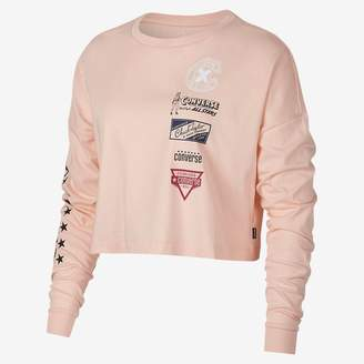 b48972db0b7 ... Converse Heritage Patches Cropped Long Sleeve Womens T-Shirt