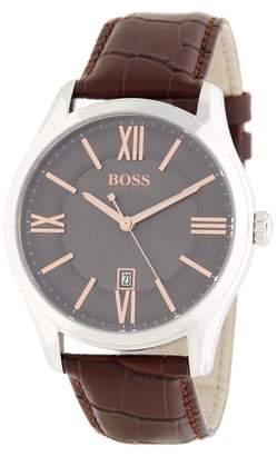 BOSS Men's Ambassador Leather Watch, 43mm