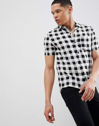 Religion Slim Short Sleeve Revere Collar Shirt In Gingham Check