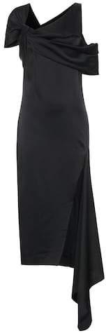 Asymmetric satin midi dress