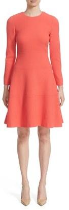 Women's Lela Rose Wool Blend Crepe Fit & Flare Dress $1,295 thestylecure.com