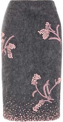 Prada - Embellished Mohair-blend Pencil Skirt - Gray