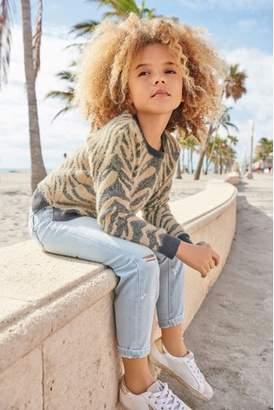 Next Girls Grey/Brown Animal Stripe Sweater (3-16yrs)