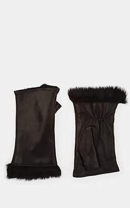 Barneys New York Women's Fur-Lined Leather Fingerless Gloves - Black