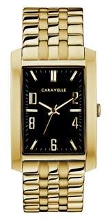 Bulova CARAVELLE Designed by Caravelle Men's Rectangular Gold-Tone Stainless Steel Bracelet Dress Watch