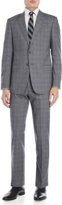 Armani Collezioni Two-Piece Charcoal Plaid Wool Suit