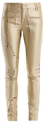 Haider Ackermann Mid Rise Jacquard And Leather Trousers - Womens - Gold
