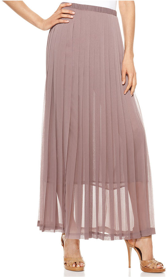 NY Collection Skirt, Sheer Pleated Maxi