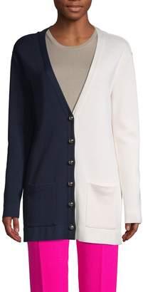 Oscar de la Renta Colorblock Silk & Cotton Blend Cardigan