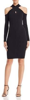 Milly Cross-Neck Cold-Shoulder Dress