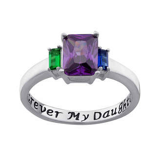FINE JEWELRY Personalized Sterling Silver Forever My Daughter Birthstone 3-Stone Ring